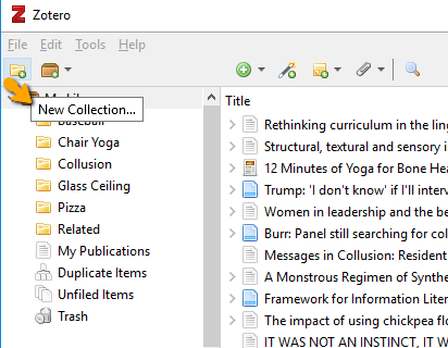 New collection link in Zotero