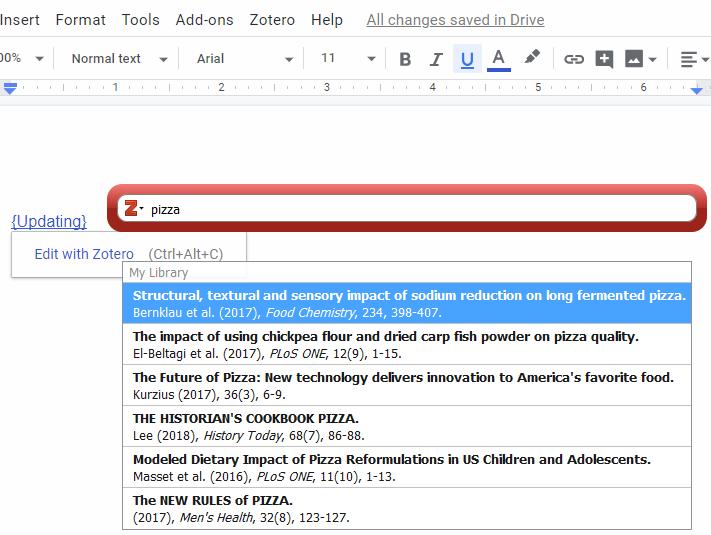 Zotero in-text citation toolbar in Google Docs