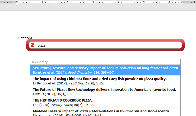 Citation search bar in Microsoft Word