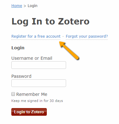 Zotero log in screen