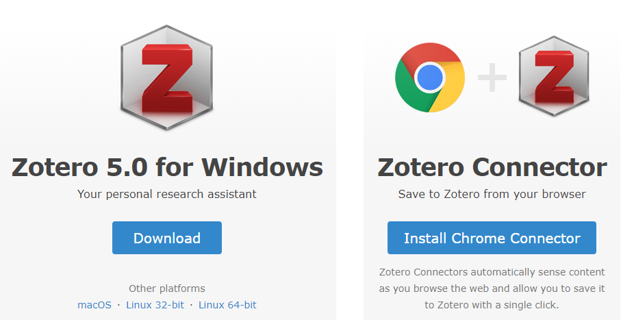Screenshot of Zotero download screen