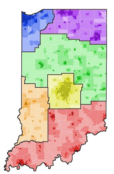 Map of Indiana, with different Indiana regions outlined in black and colored in various colors explained in text above image.