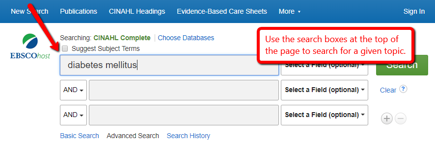 EBSCOhost search page with diabetes mellitus typed into the search box