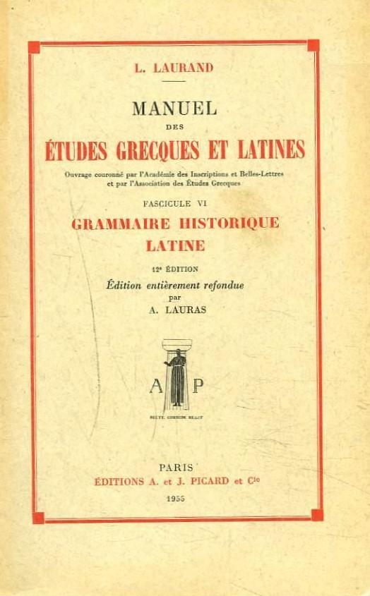 Manuel des études grecques et latines cover