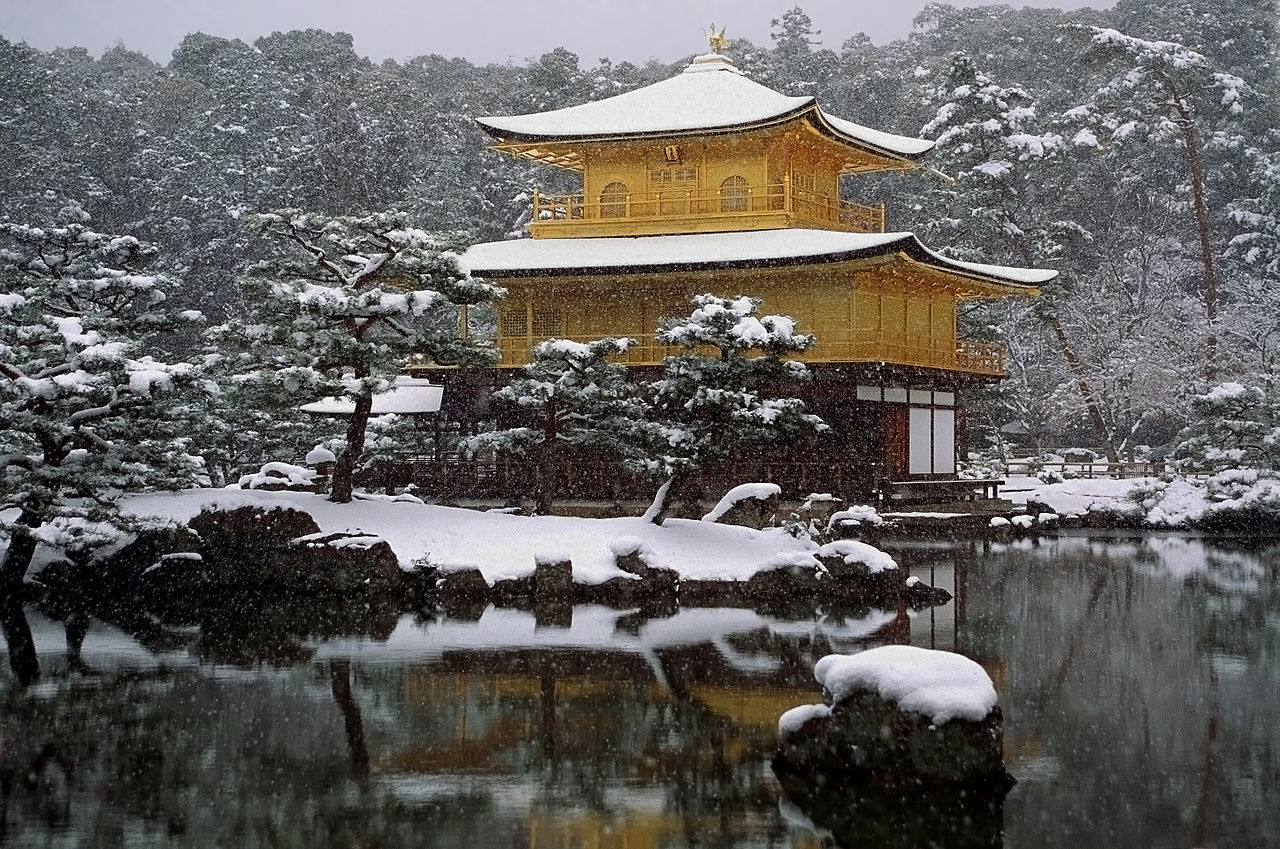 Kinkakuji under snow