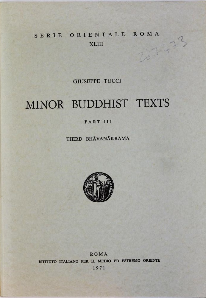 Tucci Minor Buddhist Texts cover art