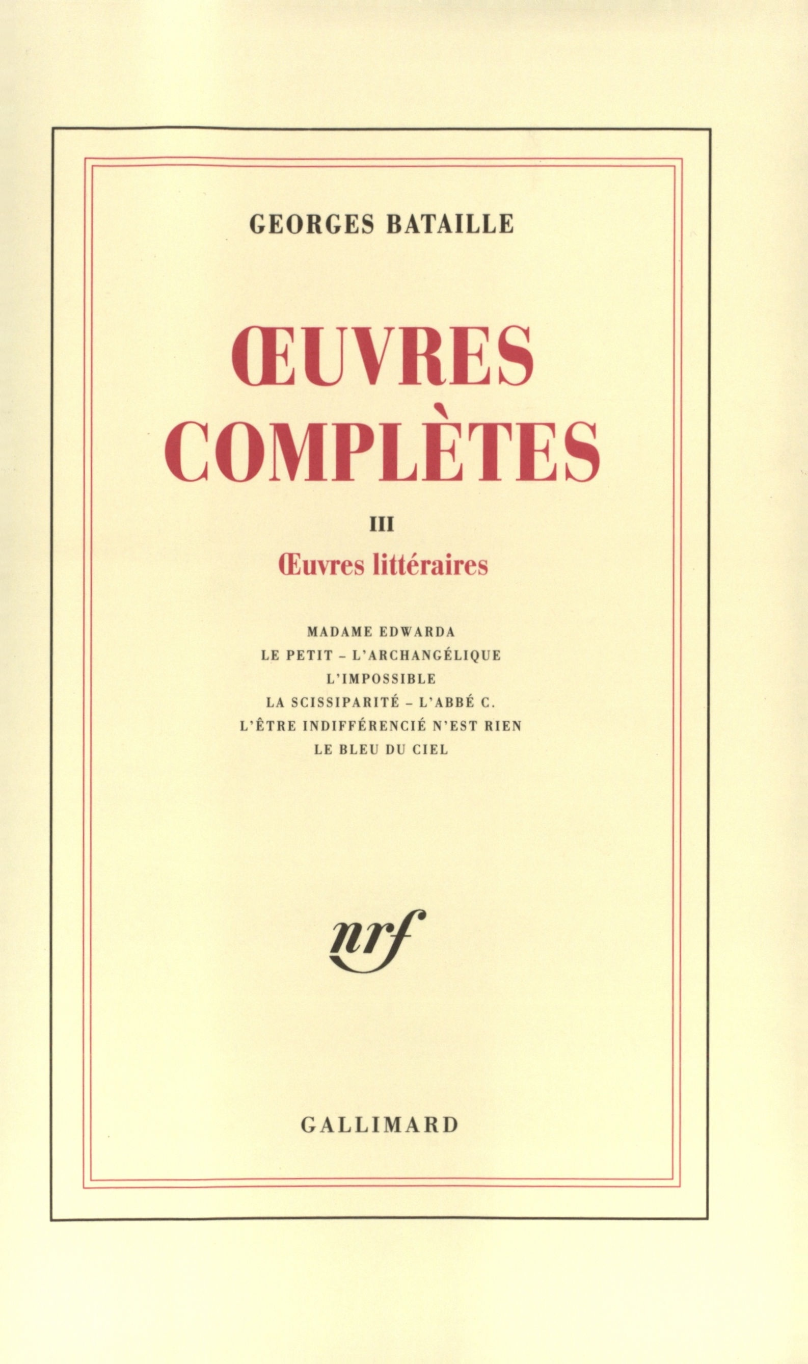 Œuvres complètes tome 3, ed. Cover art