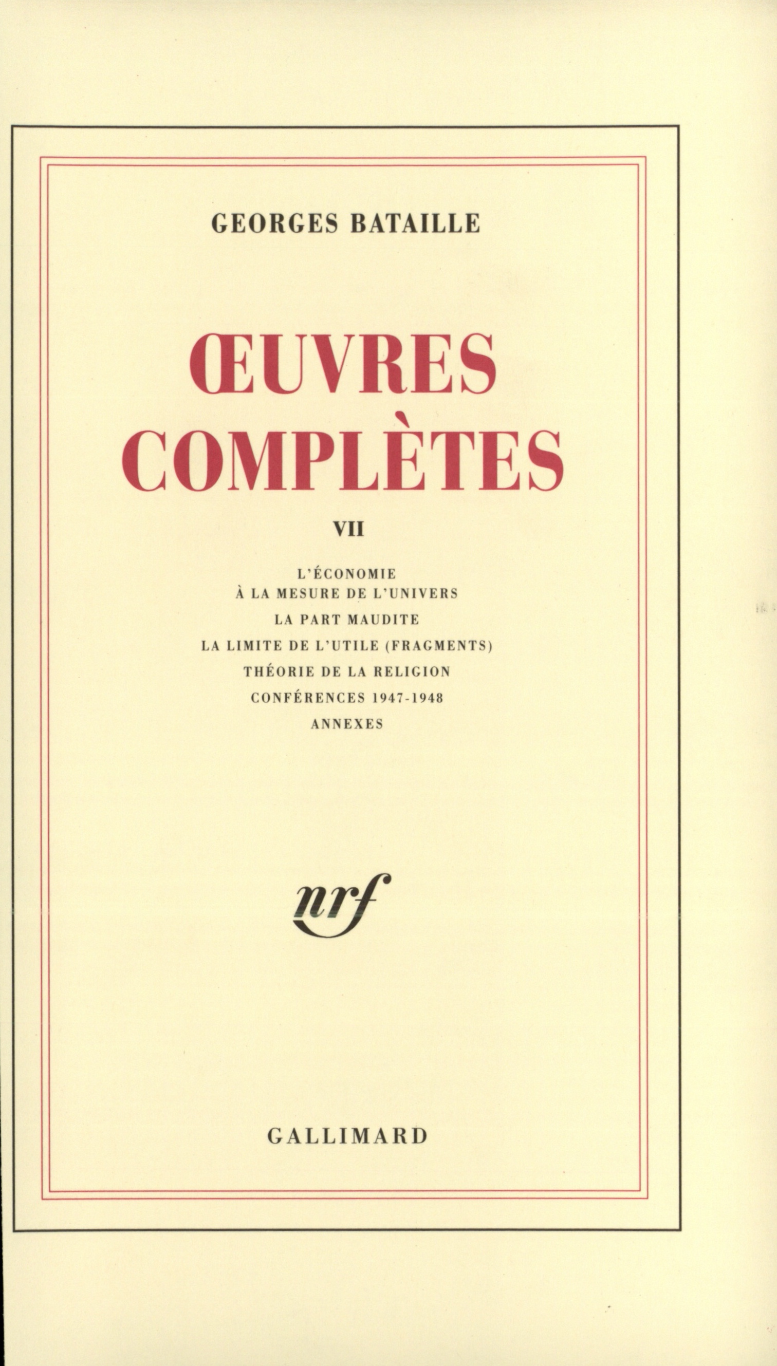 Œuvres complètes tome 7 Cover art