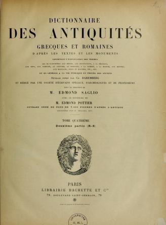 Dictionnaire des antiquités grecques et romaines, etc cover