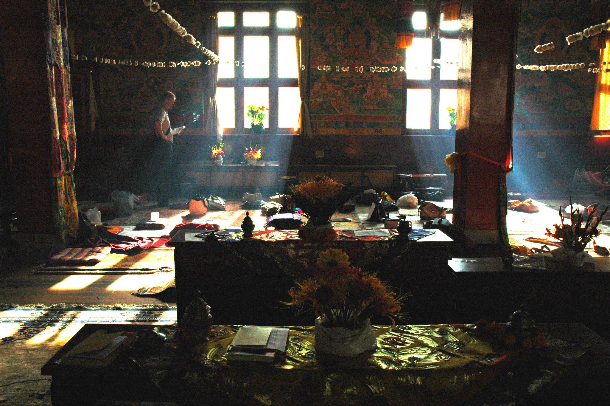 Dharma student studying in Tharlam Monastery, Kathmandu, Nepal