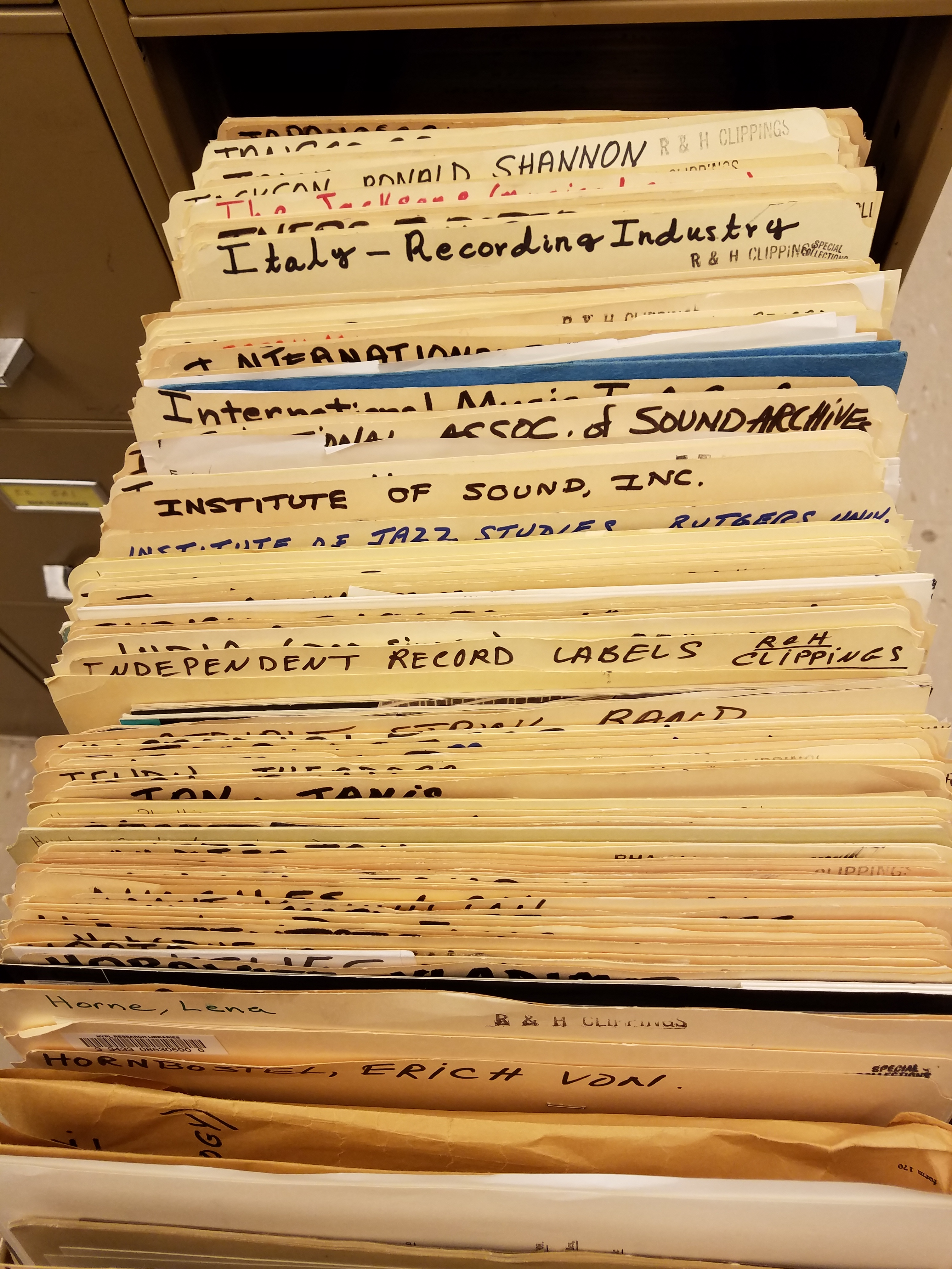 A drawer of clipping file folders for the Recorded Sound Division
