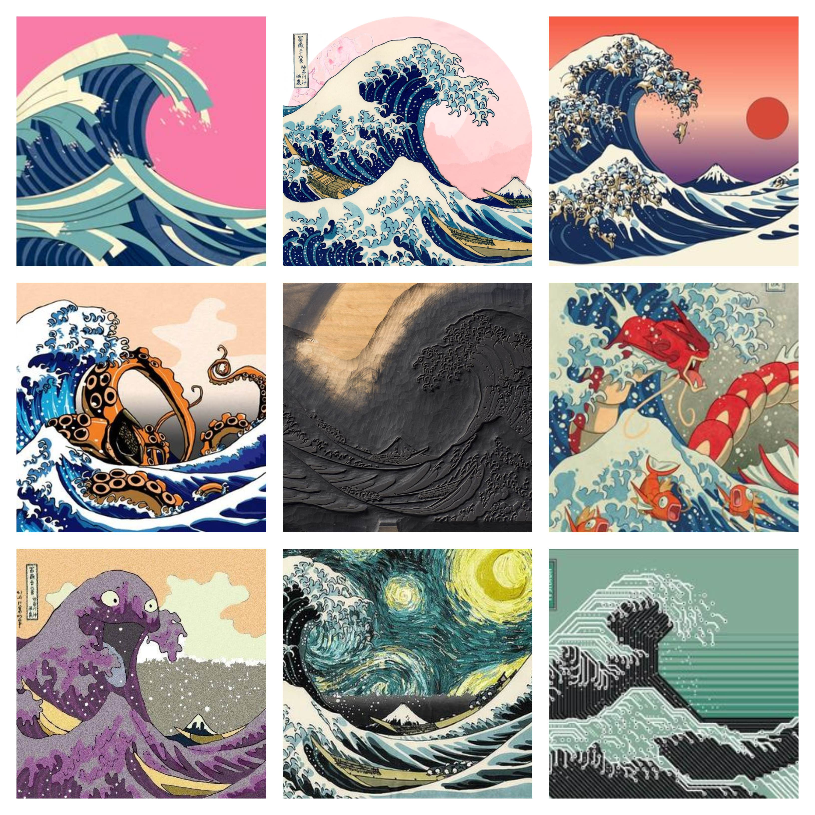 Collage of variations on the woodblock print The Great Wave off Kanagawa by the Japanese ukiyo-e artist Hokusai