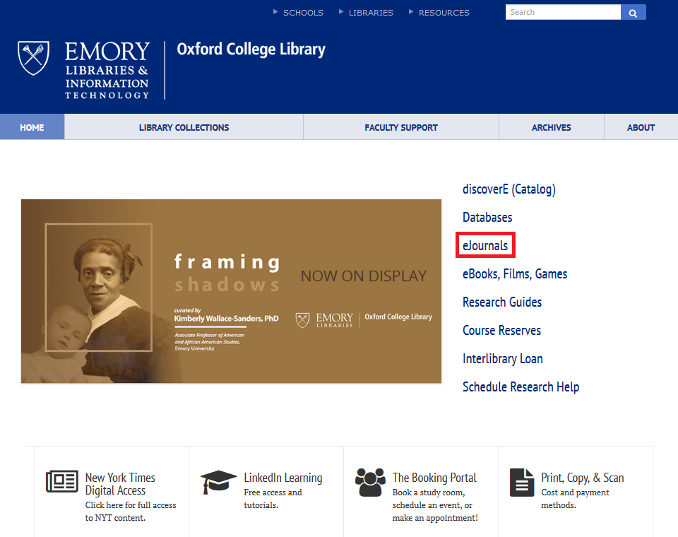 Oxford library homepage with eJournals link highlighted