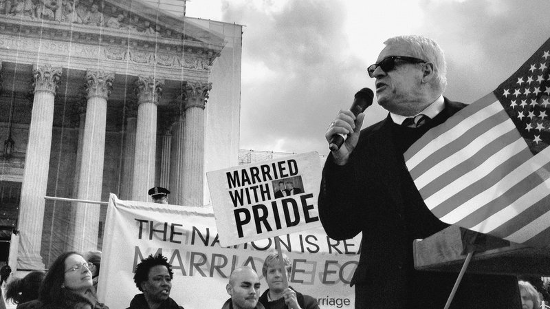 Author Cleve Jones at a Supreme Court Pride Rally