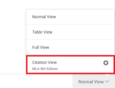 image of refworks views with citation view circled