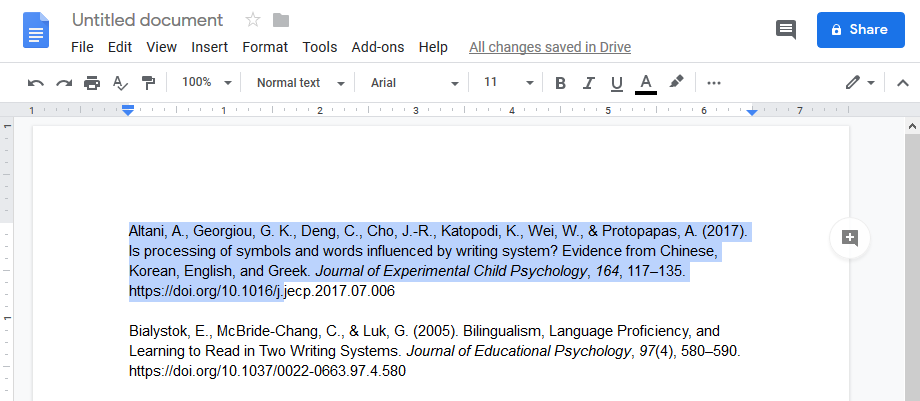 text highlighted in google docs