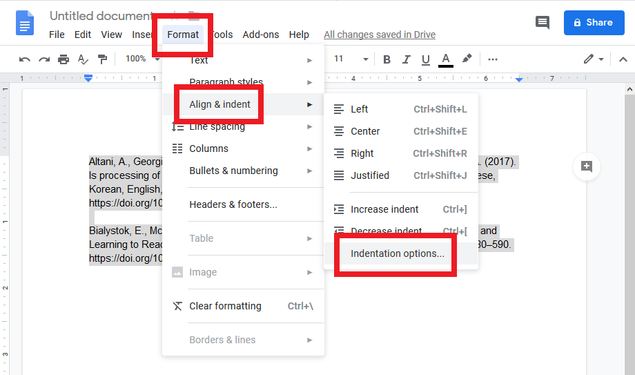 screenshot of format and align and indent menu opened in google docs