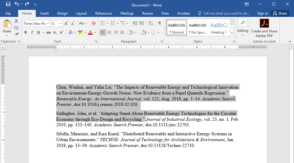highlighted text in word