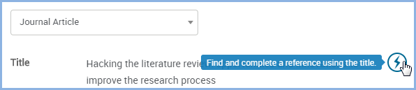 "Click on the lightning bolt to ""Find and complete a reference using the title."""