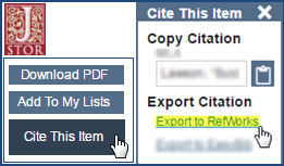 Click Cite this Item and then Export to RefWorks.
