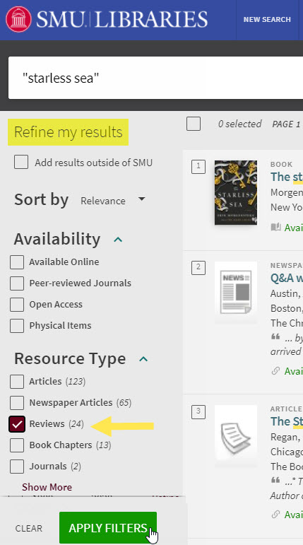 """search results for """"starless sea"""" - Refine my results to Reviews. Apply Filter."""