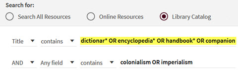 Search for dictionar* OR encyclopedia* OR handbook* OR companion in Title