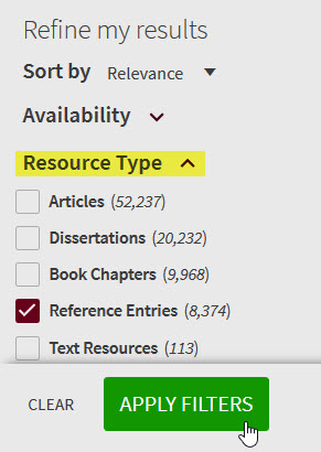 """Refine Results by Resource Type, """"Reference Entries"""""""