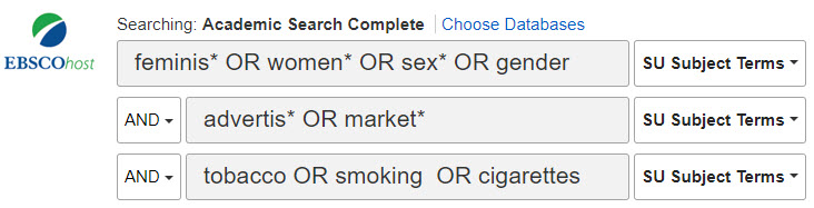 sample search for women+advertising+tobacco