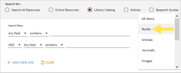 Advance Search - Limit to Library Catalog & Books
