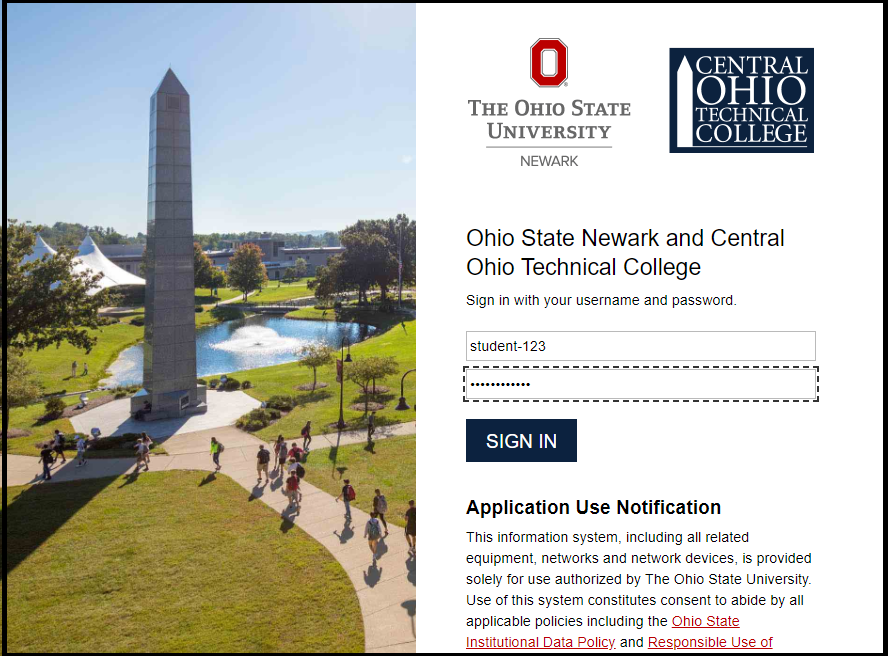 Sign-in screen for Central Ohio Technical College, asking for student username and password.