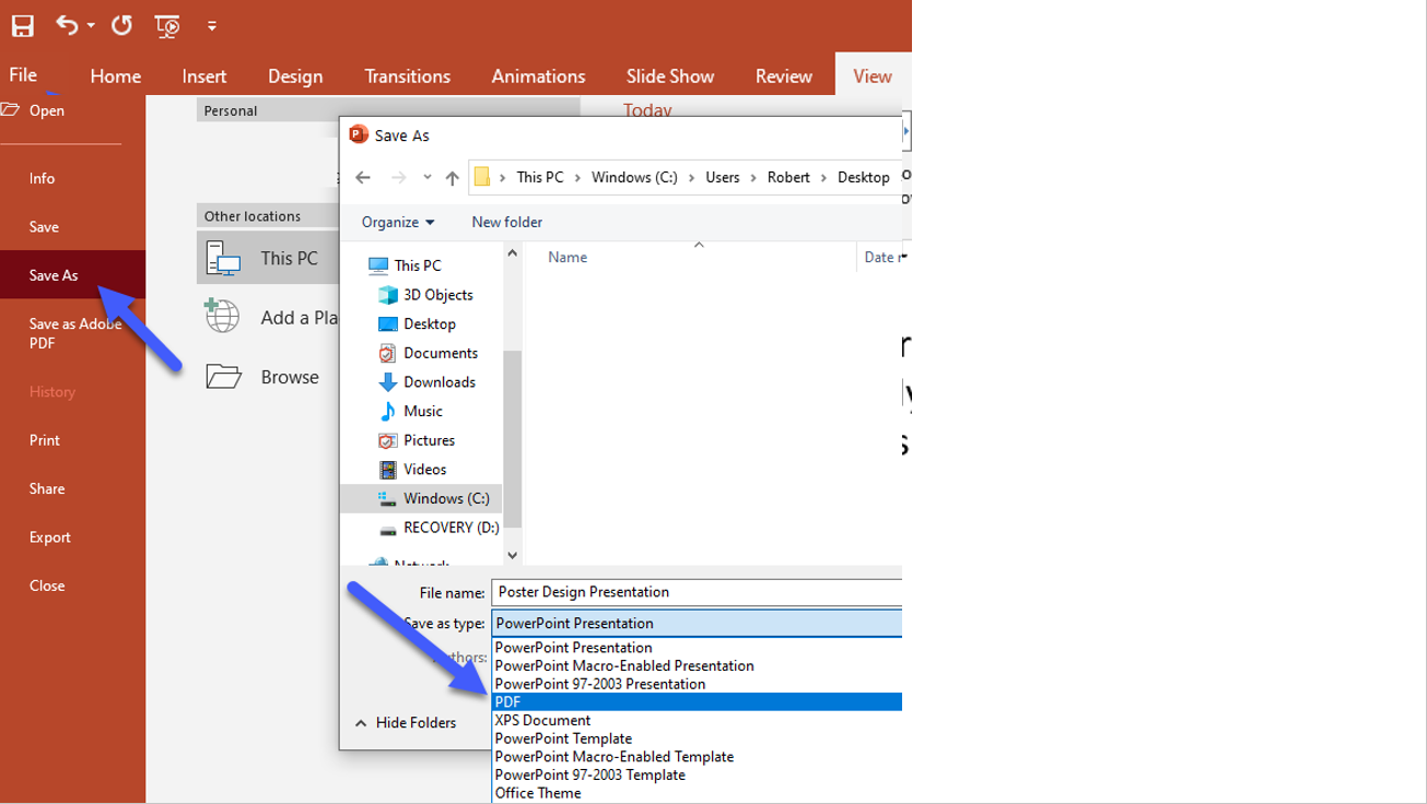 screen shots of steps to save PowerPoint as PDF