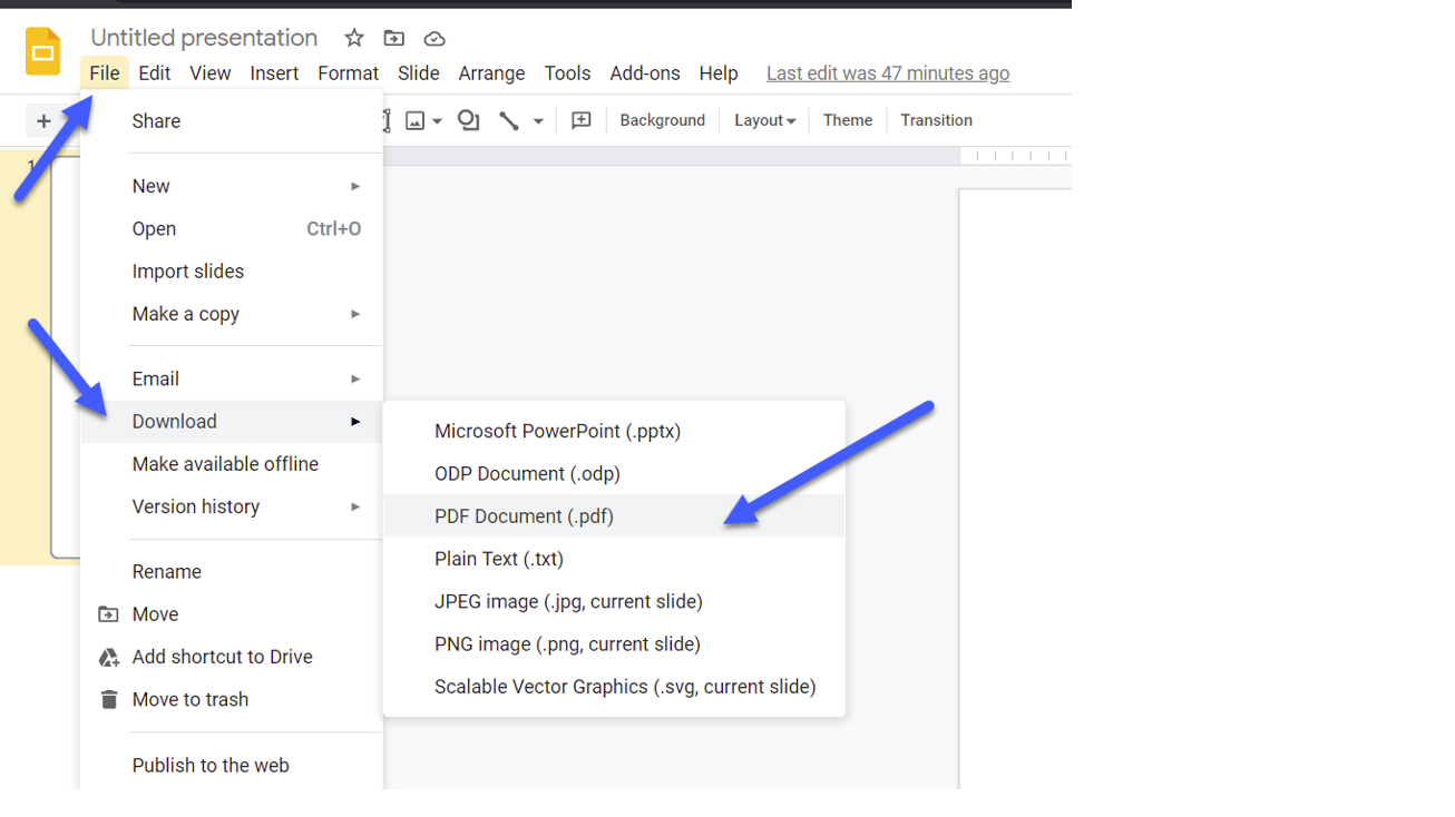 screen shots of steps to save Google Slides as PDF