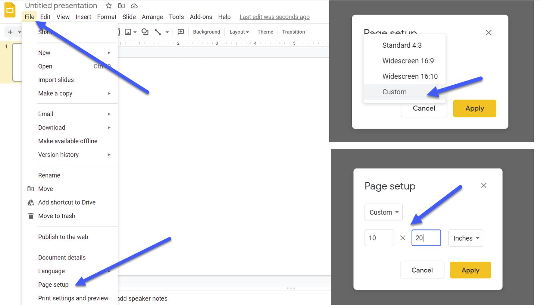 Screen shot of Google Slides Interface illustrating set up directions.