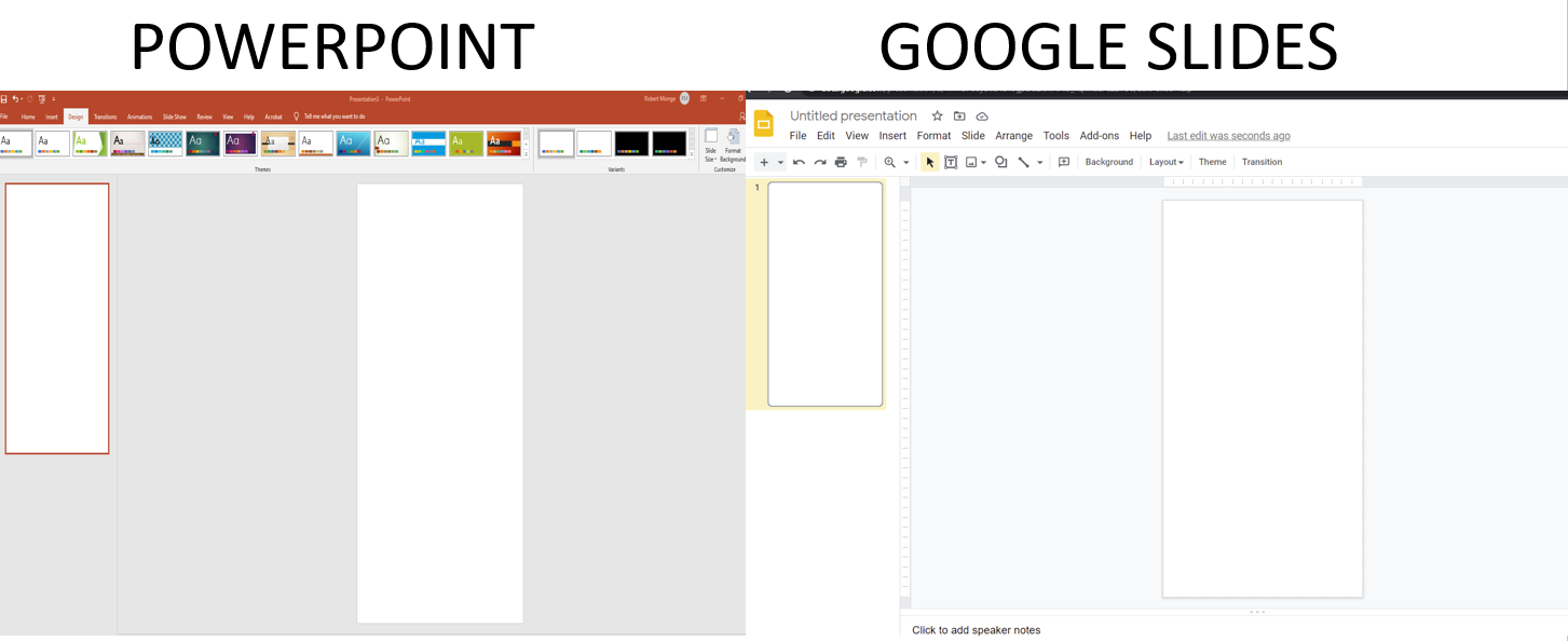 Side by side comparison of digital poster set up for PowerPoint and Google Slides