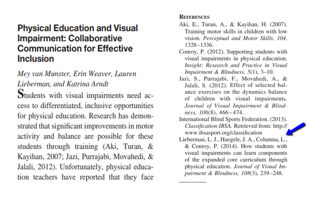 Article reference page with the article: How Students With Visual Impairments Can Learn Components of the Expanded Core Curriculum Through Physical Education