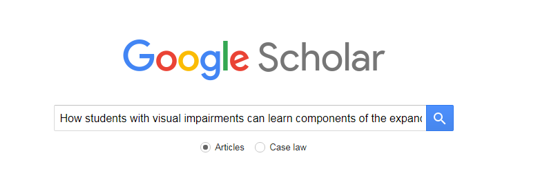Google Scholar search box with name of article typed in: How Students with Visual Impairments Can Learn Components of the Expanded Core Curriculum Through Physical Education