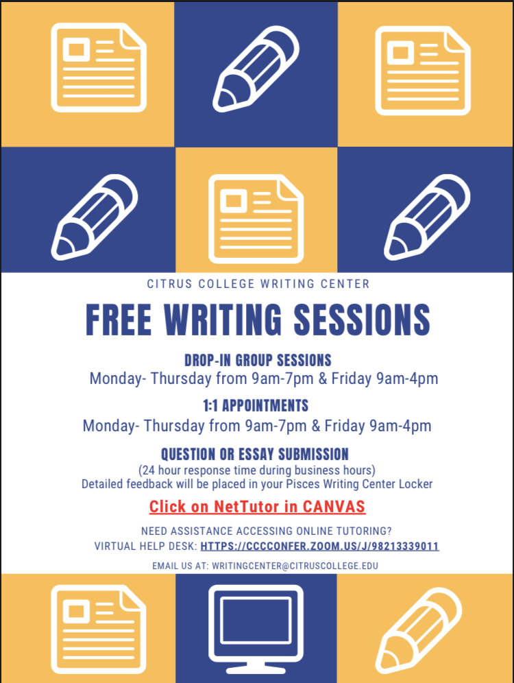 Free writing session Drop in Group sessions and One on One appointments M-Th 9am-7pm Fri 9am-4pm Click on NetTutor in Canvas