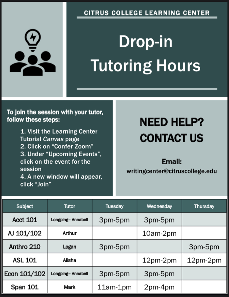 drop in tutoring hours for the learning center