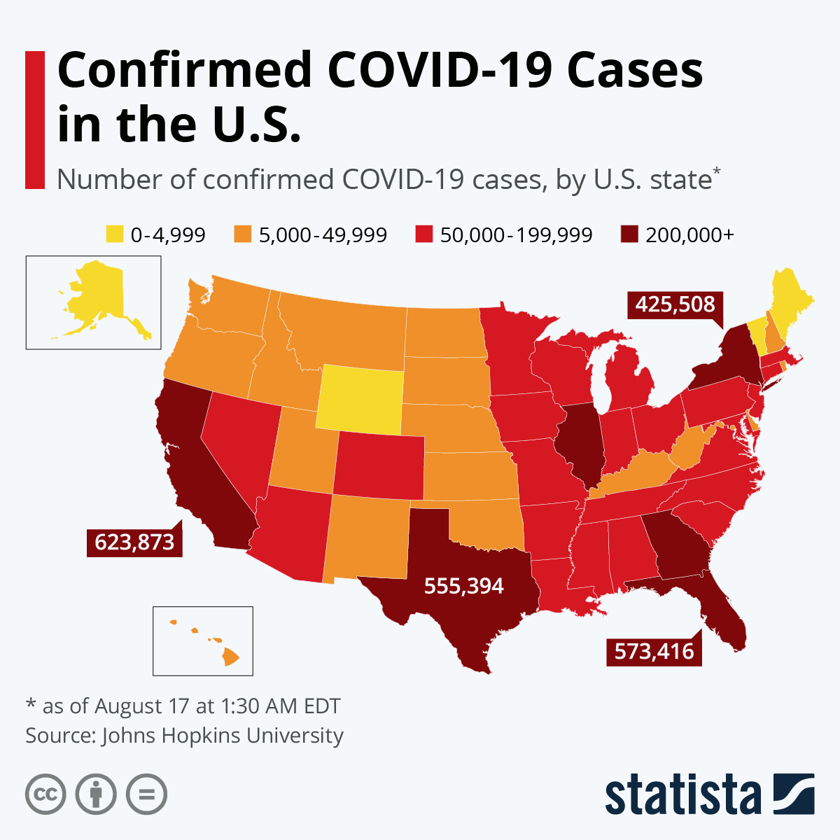 'Confirmed COVID-19 Cases in the U.S.' Number of confirmed COVID-19 cases, by U.S. state. Choropleth map, updated weekly.