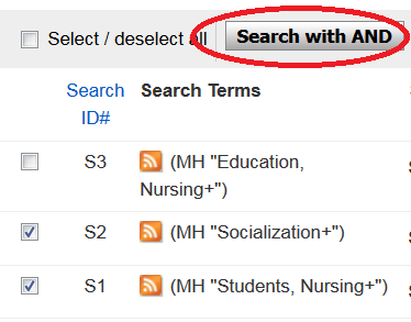 "Boxes checked in front of two CINAHL search terms, red oval drawn around ""Search with AND"" button"