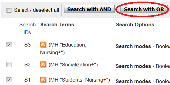 "Boxes checked in front of two CINAHL search terms, red oval drawn around ""Search with OR"" button"