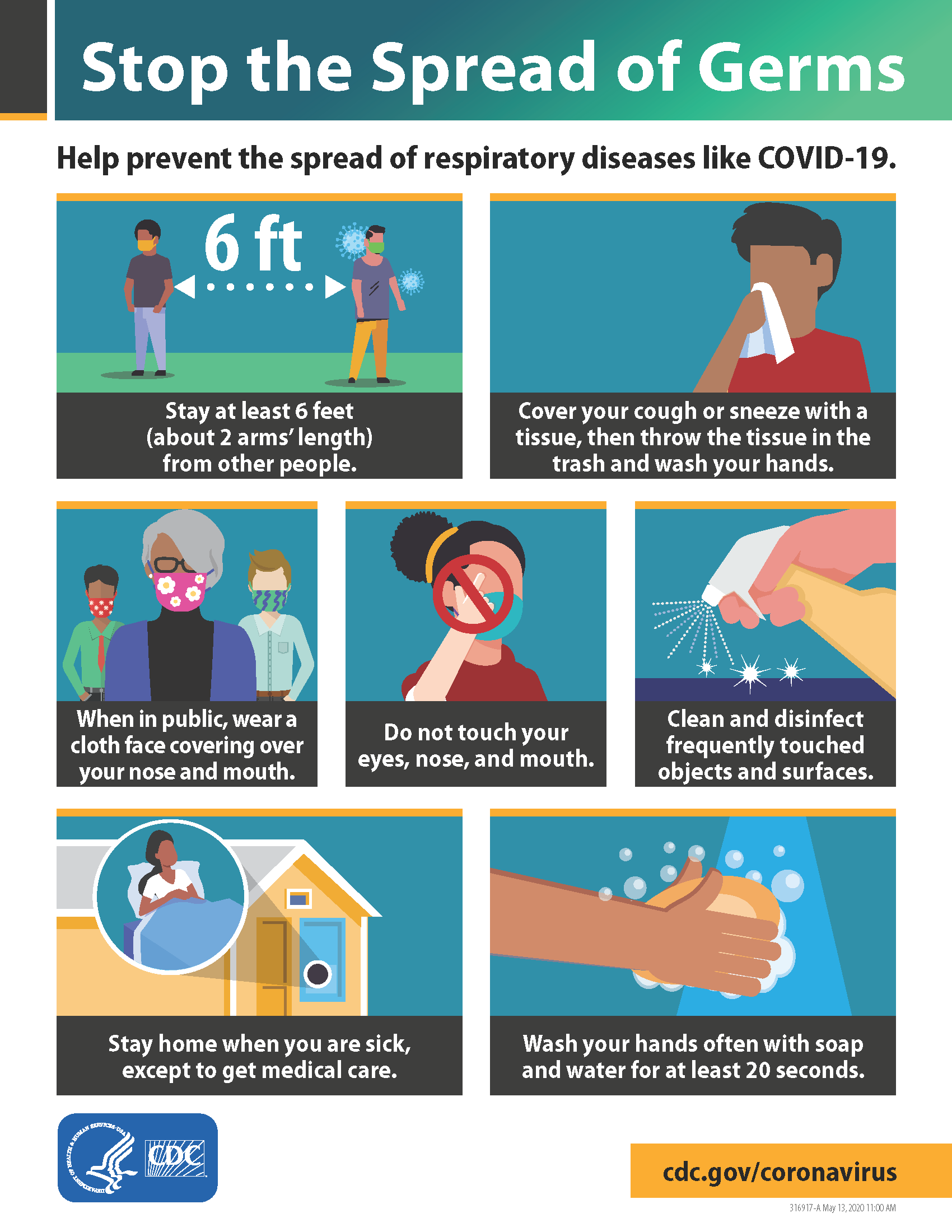 CDC 'Stop the Spread of Germs' infographic