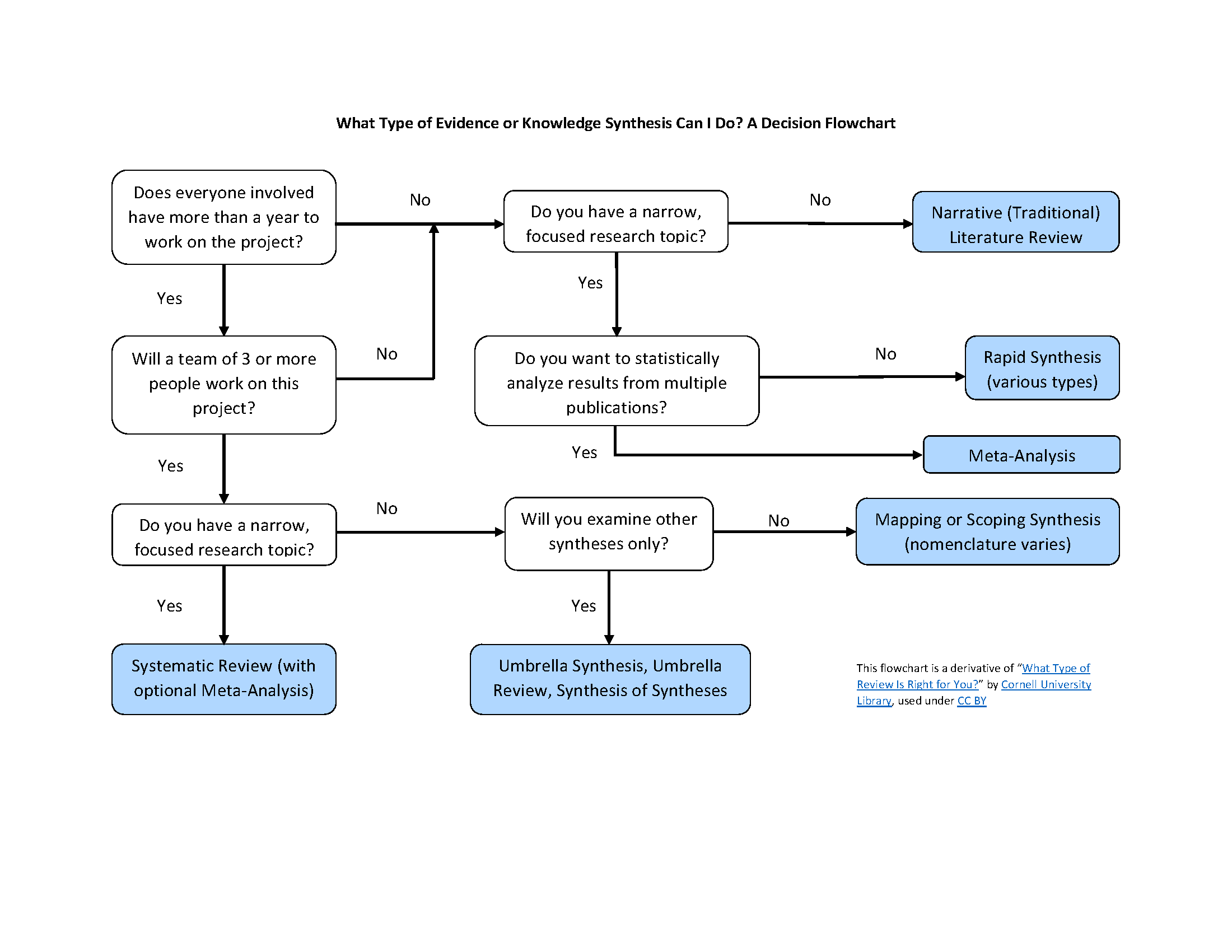 Flowchart image of What Type of Evidence or Knowledge Synthesis Can I Do? - see outline