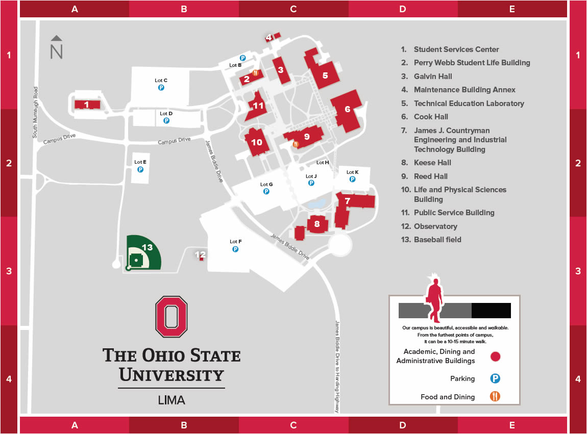 The Ohio State University at Lima Campus Map