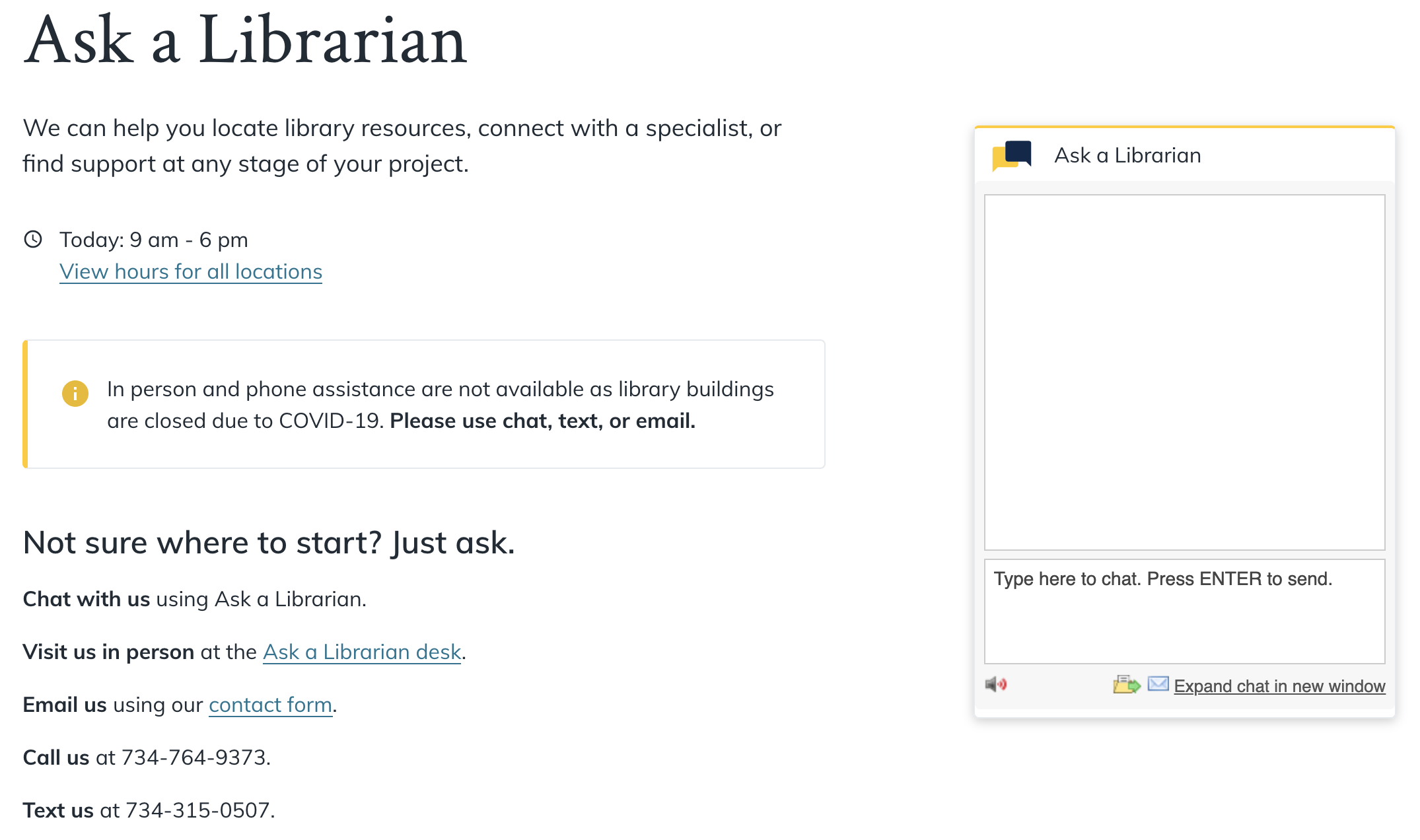 screenshot of the ask a librarian page on the main library site