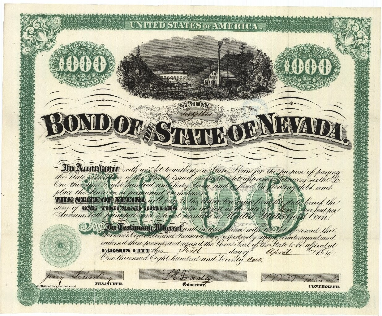 Bond of the State of Nevada 1000