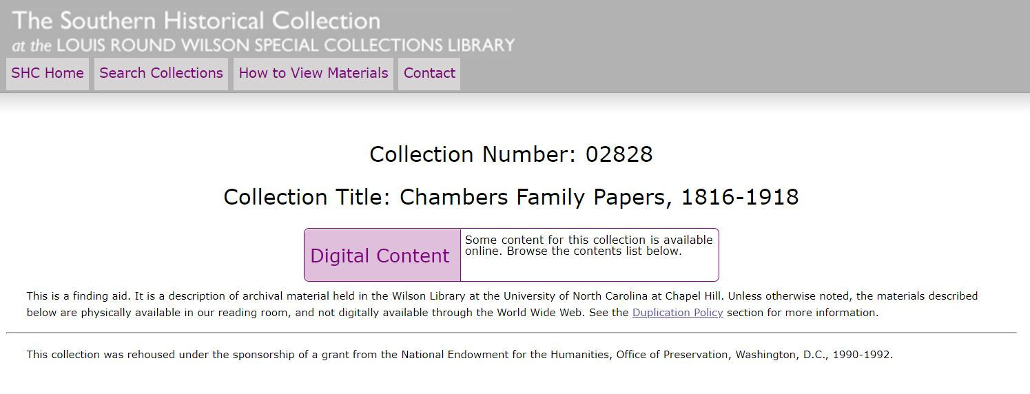 finding aid and link to Chambers Family Papers
