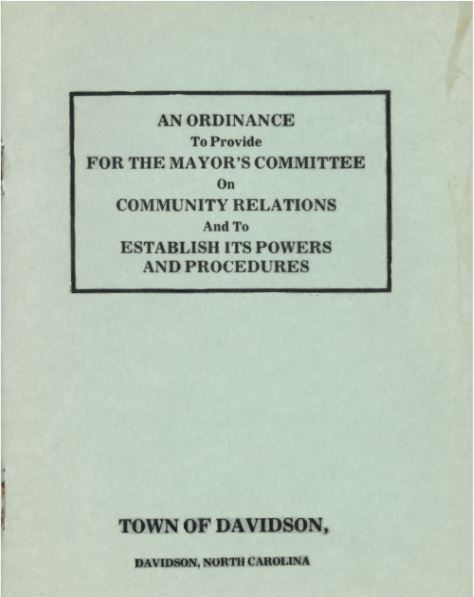 front of community relations committee report from the town of davidson