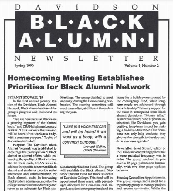 1990 issue of the black alumni newsletter