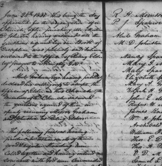Screenshot of handwritten Davidson College Presbyterian Church minutes, 1800s